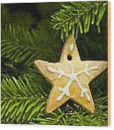 Star Shape Short Bread Cookie Wood Print
