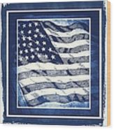 Star Spangled Banner Blue Wood Print