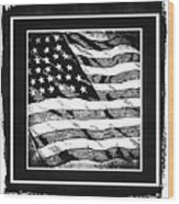 Star Spangled Banner Bw Wood Print