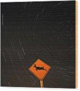 Star Tracks Behind Deer Crossing Sign Wood Print