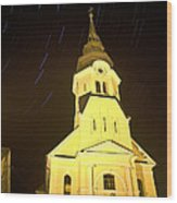 Star Trails Behind Vodice Church Wood Print