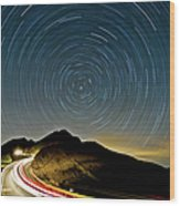 Star Trails Wood Print by Higrace Photo
