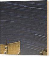 Star Trails Over Ljubljana Wood Print