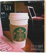 Starbucks And Computers Wood Print