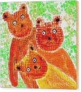 Stargazing Teddy Bears Wood Print