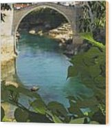 Stari Most Or Old Town Bridge Over The Wood Print