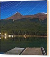 Starry Night Of Mountains And Lake Wood Print