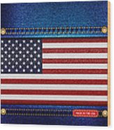 Stars And Stripes Denim Wood Print by Jane Rix