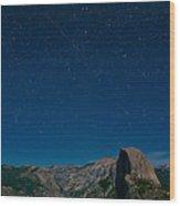 Stars Over Half Dome Wood Print