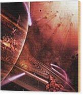 Starships Hone Their Skills Wood Print