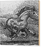Startled Equus Wood Print