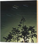 Startrails And Moonlit Fog, Canada Wood Print by David Nunuk