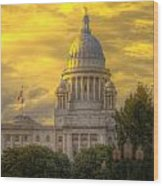 Statehouse At Sunset Wood Print