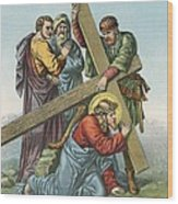 Station Vii Jesus Falls Under The Cross The Second Time Wood Print