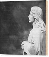 Statue 06 Black And White Wood Print