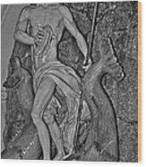 Statue 17 Black And White Wood Print