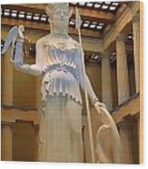 Statue Of Athena And Nike Wood Print