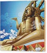 Statue Of Big Buddha On Blue Sky. Wood Print