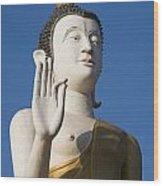 Statue Of Buddha At Wat That Luang Tai Wood Print