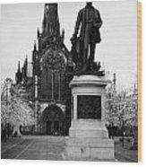 Statue Of David Livingstone Outside Glasgow Cathedral Scotland Uk Wood Print by Joe Fox
