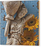 Statue Of Woman With Sunflowers Wood Print