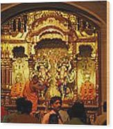 Statues Of Ram And Lakshman And Sita At The Iskcon Temple In Delhi Wood Print