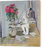 Statuette By Maillol And Red Roses Wood Print