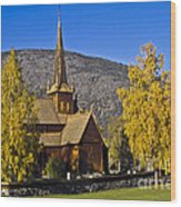 Stave Church In Lom Wood Print