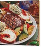 Steak And Lobster Wood Print