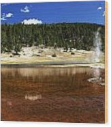 Steam At Firehole Lake Wood Print