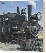 Steam Engine And Sailboats Wood Print
