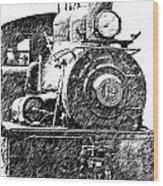 steam Engine pencil sketch Wood Print