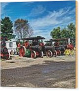 Steam Engines Lined Up Wood Print