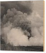 Steam In Sepia Wood Print