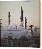 Steam Plumes At Oil Refinery Wood Print