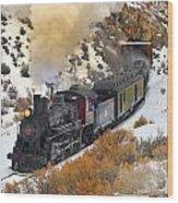 Steam Scene In The Snow Wood Print