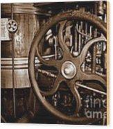 Steam Wheel Wood Print