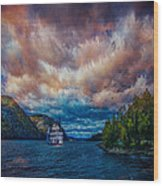 Steamboat On The Hudson River Wood Print