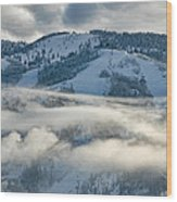 Steamboat Ski Area In Clouds Wood Print
