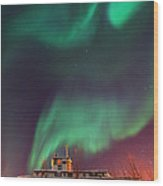Steamboat Under Northern Lights Wood Print