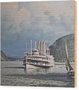 Steamboats On Newburgh Bay William G Muller Wood Print by Jake Hartz
