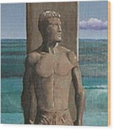 Steamer Lane Statue Wood Print by Tim Foley