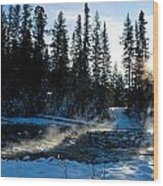 Steaming River In Winter Wood Print