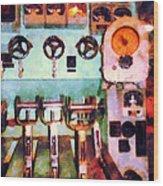 Steampunk - Electrical Control Room Wood Print