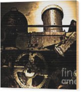 Steampunk Railway Transcontinental Line . Where Steam Is Still King . Gold Version Wood Print by Wingsdomain Art and Photography