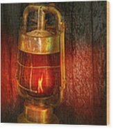 Steampunk - Red Light District Wood Print