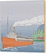 Steamship Steamboat Vintage Wood Print by Aloysius Patrimonio