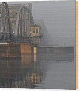 Steel Bridge In Fog - Vertical Wood Print