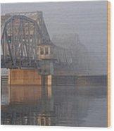 Steel Bridge In Morning Fog Wood Print