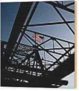 Steel Bridge With American Flag Wood Print